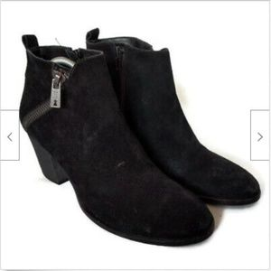 Ivanka Trump black suede side zip ankle boots